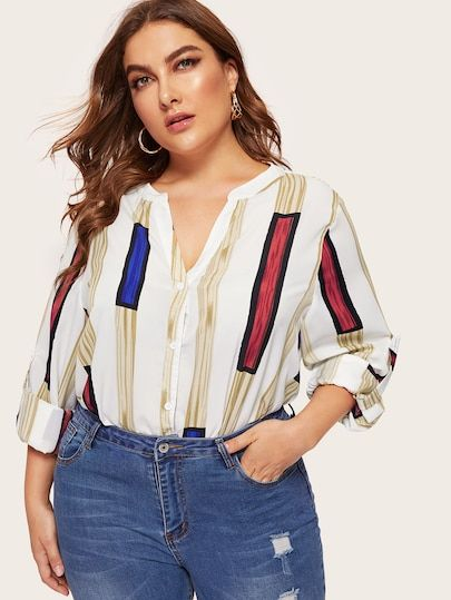 78fbc00080a Plus V-neck Striped Print Roll Tab Sleeve Blouse in 2019