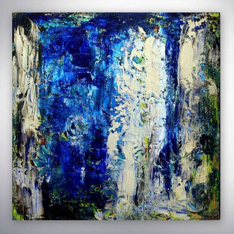 modernes gemalde silber blau gespachtelt xxl burg castell hochwertige bilder originale unikate art gallery kunstgalerie online shop landscha moderne malerei bild gesicht abstrakt abstrakte