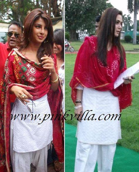 8af5a6cc079 Priyanka Chopra OR Preity Zinta in white Salwaar Kameez and red Dupatta  ..  Priyanka