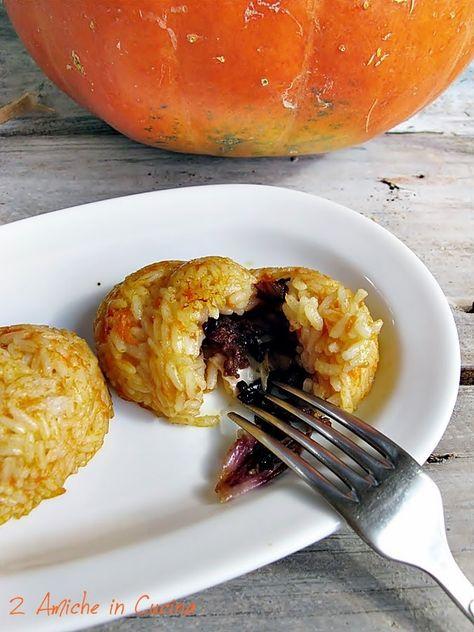 tortini di risotto alla zucca con cuore di salsiccia e radicchio al balsamico