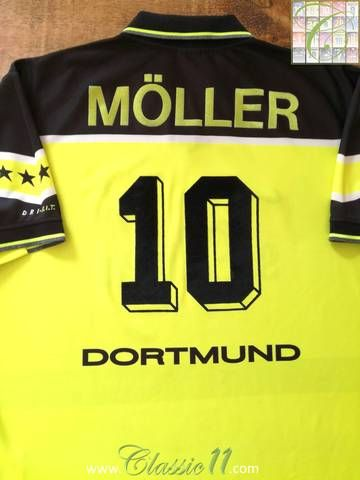 Official Nike Borussia Dortmund Home Football Shirt From The 1997 98 Season Complete With Moller 10 On The Back Of Borussia Dortmund Football Shirts Dortmund