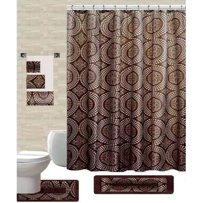 Enno 6 Piece Bath Set Hooks Bathroom Curtain Set Shower Curtain Shower Curtain Sets
