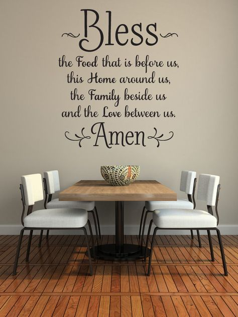 Kitchen wall decals - bless the food before us wall decal kitchen wall art dining room wall words vinyl lettering wall sticker family wall decor 36 x 32 Kitchen Wall Stickers, Kitchen Wall Art, New Kitchen, Kitchen Dining, Kitchen Decor, Life Kitchen, Kitchen Walls, Kitchen Wall Quotes, Decorating Kitchen