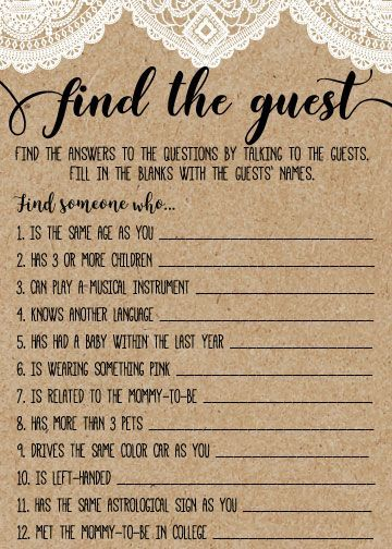Find the Guest, Baby Shower Game, Rustic Baby Shower, Country Baby Shower, Baby Shower Ideas