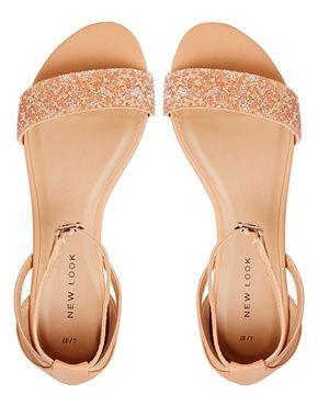 Image 3 ofNew Look Glass Nude Embellished Flat Sandals