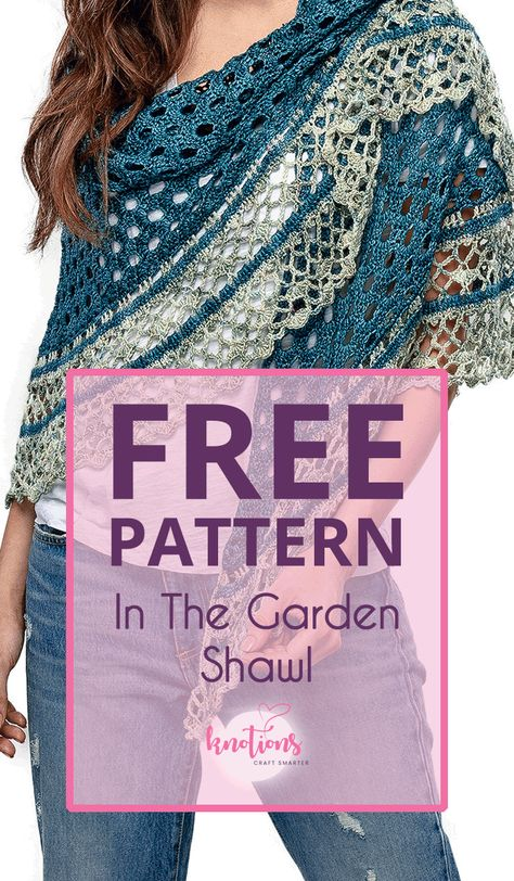 In The Garden Shawl - knotions In The Garden Shawl free crochet pattern - knotions<br> Free crochet pattern for a half-circle shawl. Using two colors, it will quickly work up with a pretty eyelet main section and a fun and frilly border. Crochet Shawl Free, Crochet Gratis, Crochet Shawls And Wraps, Crochet Scarves, Crochet Clothes, Crochet Stitches, Knit Crochet, Crochet Patterns, Crochet Ideas
