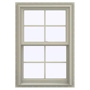 Jeld Wen 35 5 In X 53 5 In V 2500 Series Desert Sand Vinyl Double Hung Window With Colonial Grids Grilles Thdjw144401013 The Home Depot In 2020 Double Hung Windows Jeld Wen Double Hung Vinyl Windows