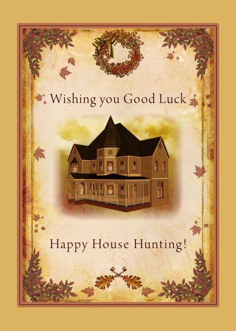 Good Luck House Hunting Victorian House Wreath Leaves Card Ad Sponsored House Hunting Good Luck Happy Thanksgiving Cards Special Friend