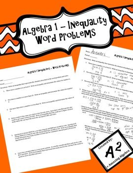 Algebra 1 One Variable Inequality Word Problems In 2021 Word Problems Inequality Word Problems Algebra 1