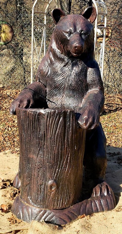 Bear Statue with Tree Stump Planter