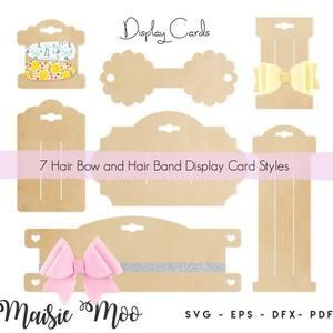 Bow Holder Svg Bow Card Svg Bow Display Template Bow Etsy Bow Display Hair Bow Display Display Cards