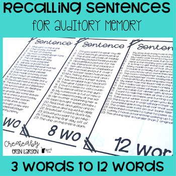 Recalling Sentences For Auditory Memory And Auditory Processing Auditory Processing Speech Language Therapy Activities