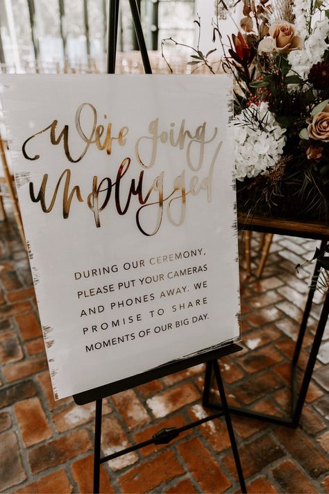 Acrylic unplugged ceremony sign with gold foiled hand | Etsy