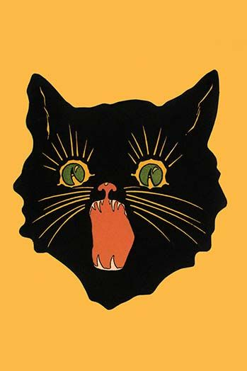 Angry Black Cat Art Print Watercolor Painting