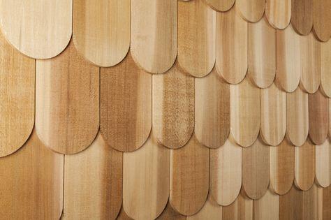 Cedar Decorator Shingles Wide Round 4 15 16 X 17 1 2 Cedar Wood Siding Wood Siding Red Cedar Wood