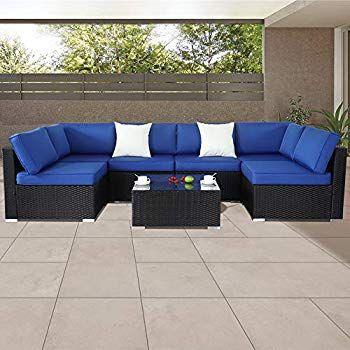 Amazon Com U Max 7 Pcs Outdoor Patio Garden Furniture Pe Rattan
