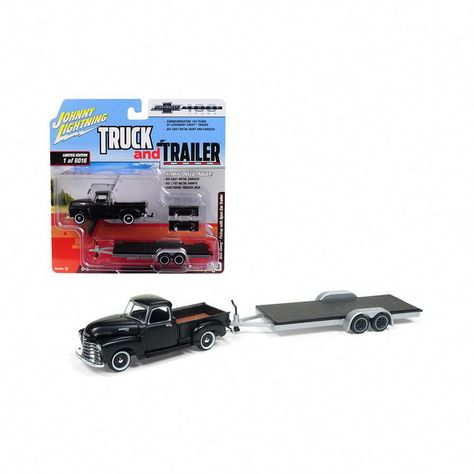 1950 Chevrolet Pickup Truck Matte Black W Open Car Trailer Ltd Ed 6016 Pieces 1 64 Diecast Model By Johnny Lightning Pickuptruc Classic Pickup Trucks