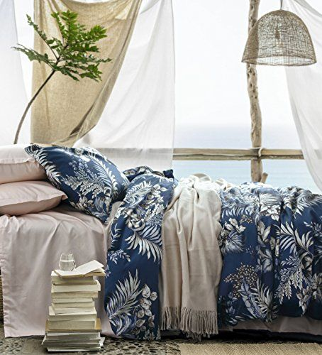 Midnight Blue Botanical Print Duvet Quilt Cover Egyptian Duvet Cover Sets Cotton Bedding Sets Duvet Covers