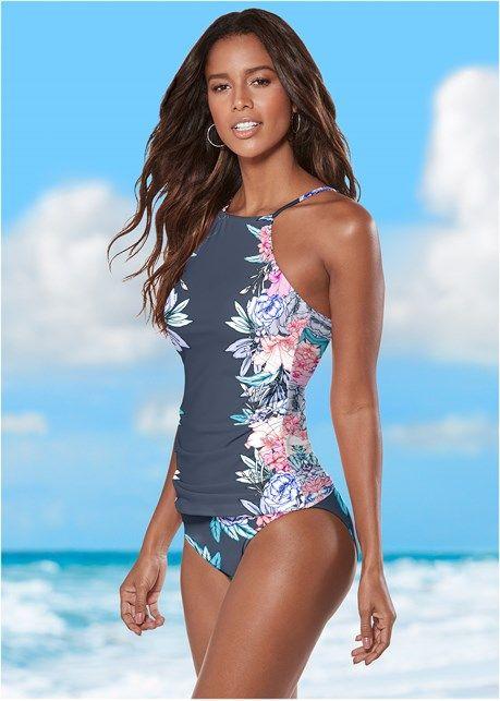 Front View High Waist Moderate Bottom Tankini Swimsuits For Women Tankini Tankini Swimsuits