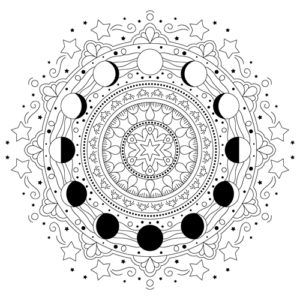 The Moon Travels Through Its Phases From Full To New And Back To Full Again In This Color Moon Coloring Pages Mandala Coloring Pages Witch Coloring Pages