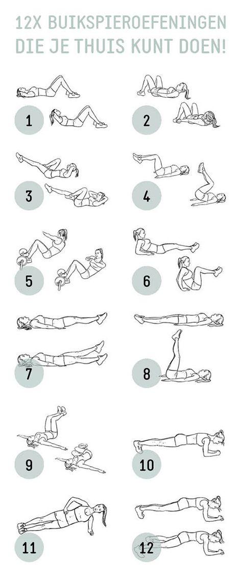Ik heb 12 buikspier oefeningen voor jullie onder elkaar gezet die je thuis kunt doen. Succes!