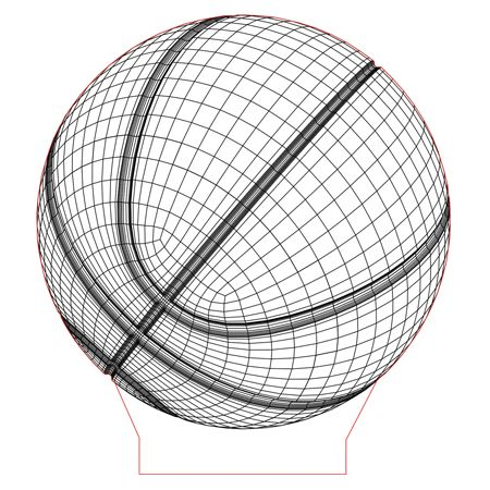 Basketball Ball 3d Illusion Lamp Plan Vector File For Laser And Cnc 3bee Studio 3d Illusion Lamp 3d Illusions 3d Led Lamp