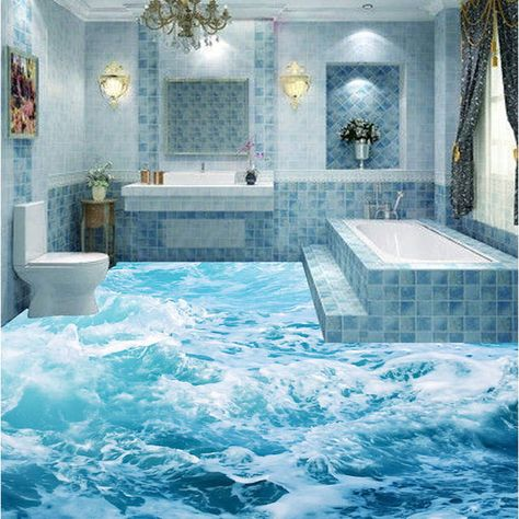 3D bathroom bathroom kitchen floor tiles non slip tiles antique balcony tiles ocean waves 3D floor tiles
