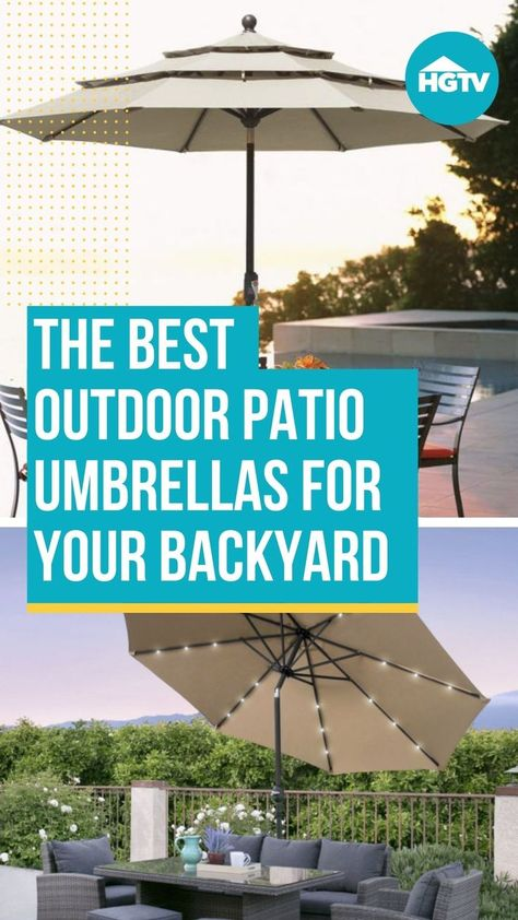Spending summer outdoors is only enjoyable if you have a shady retreat nearby. Shop HGTV's shady patio umbrella 🌂 picks and get your outdoor space ready for warm weather. 🌞