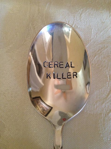 Cereal Killer vintage recycled silverware hand stamped cereal spoon Cereal Killer vintage recycled silverware by BellaJacksonStudios Stupid Funny Memes, Funny Relatable Memes, Hilarious, Funny Man, Recycled Silverware, Silverware Jewelry, Spoon Jewelry, Cereal Killer, Metal Stamping