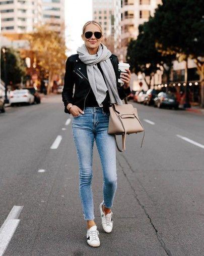Casual Outfit Frauen, Jeans Outfit, Lederjacke Damen schwarz