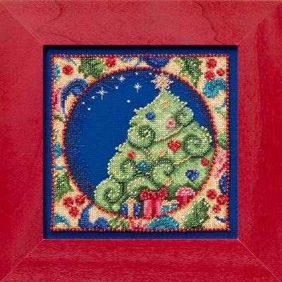 """JS304104 - Tree by Jim Shore (2014) - Mill Hill - Jim Shore Kits - Winter Series Kit Includes: Beads, 18ct Royal Blue Aida, needles, floss, chart and instructions.   Mill Hill frame GBFRM9 sold separately Size: 5"""" x 5"""""""