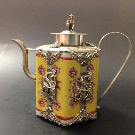 Collectibles china Tibet Silver Dragon Porcelain teapot