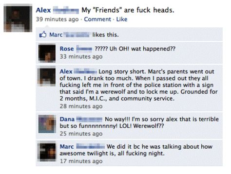 Im A Werewolf Funny Facebook Status Funny Facebook And - 25 hilarious facebook fails ever