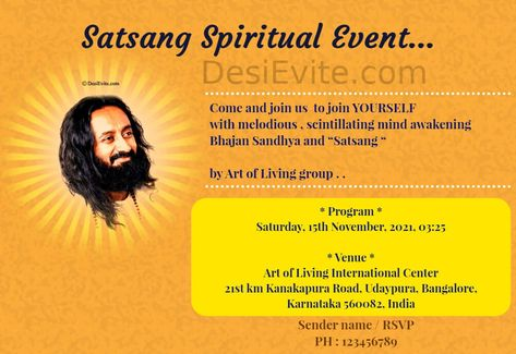 Sri Sri Ravi Shankar Ji Event Card,