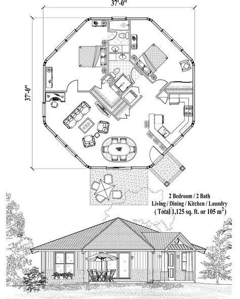 Online House Plan 1125 Sq Ft 2 Bedrooms 2 Baths Patio Collection Pt 0423 By Topsider Homes Octagon House Passive Solar House Plans Hexagon House