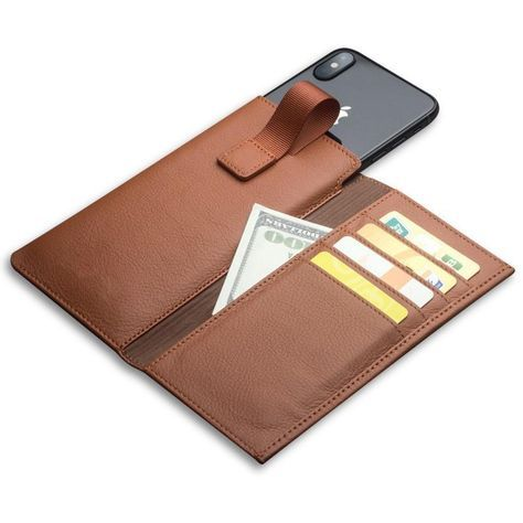 c64a21979c14 Genuine Leather Wallet Case For iPhone X Leather Wallet Card & Cash ...
