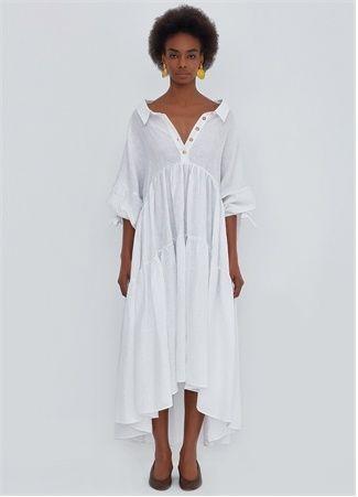 R2p R2p Kadin Siera Beyaz V Yaka Asimetrik Midi Keten Elbise Eu 2020 Elbise Kadin V Yaka