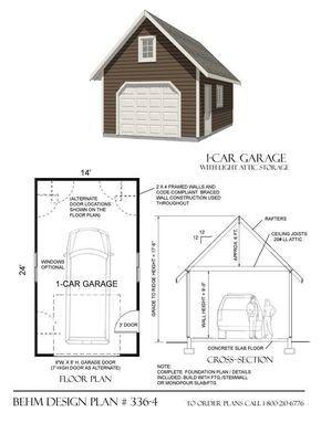 1 Car Steep Roof Pdf Garage Plans 336 4 14 X24 Garage Plans House Plans Garage Plan