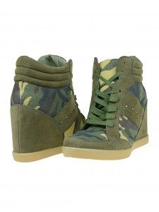 2b88365226a474 Get sporty chic with these trendy sneaker wedges! Their cool-camo design  will add