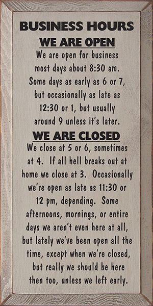 Business Hours Wood Sign - Country Marketplace