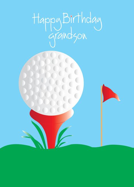Happy Birthday For Grandson Golf Ball On Red Tee Card Ad