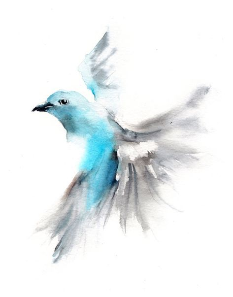Bird Art Print Flying Blue Tanager Light Blue Grey Bird Aquarelle