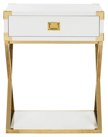 2 Drawers Wooden Night Stand With Tapered Legs Gold Gold Wood