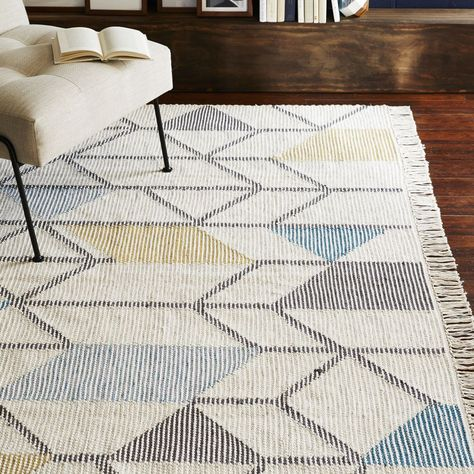 Abstract Angles Wool Dhurrie Ivory