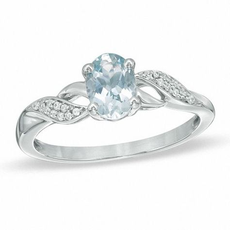 Oval Aquamarine And Diamond Accent Twist Ring In 10k White Gold Rings Twist Ring Infinity Ring Wedding