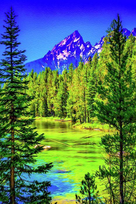 Landscape Painting Of Mountain Lake Pop Art Room Decor Home Decor Interior Design Landscape Photography Nature Art Natureart Naturelovers Naturephotog