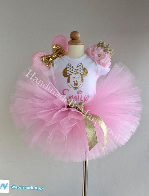 First birthday outfit,Minnie mouse outfit,Pink and gold bodysuit,Handmade
