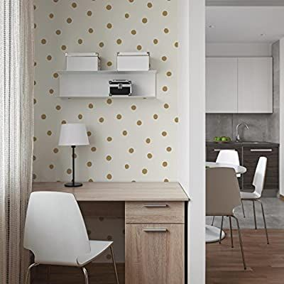 Roommates Gold Dots Peel And Stick Wallpaper Amazon Com Peel And Stick Wallpaper Polka Dots Wallpaper Room Visualizer