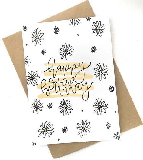 Happy Birthday Cards Handmade, Cute Birthday Cards, Bday Cards, Creative Birthday Cards, Happy Birthday Card Design, Happy Birthday Hand Lettering, Flower Birthday Cards, Birthday Postcards, Simple Flower Drawing