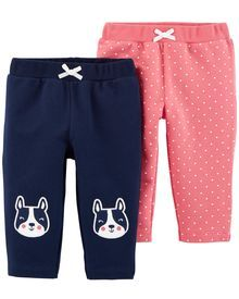 Carters Baby Boys 2 Pack Pants French Bulldog//Stripe 6 Months